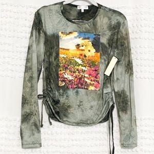 Riley + James floral field tie dye graphic top xl